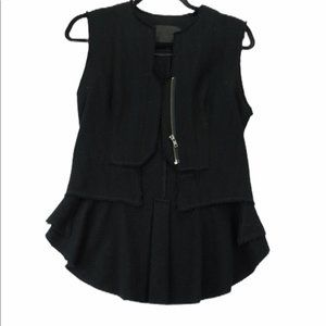 Aritizia black wool distressed peplum vest